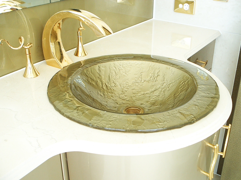 Glass Basin and Stone Bench Top