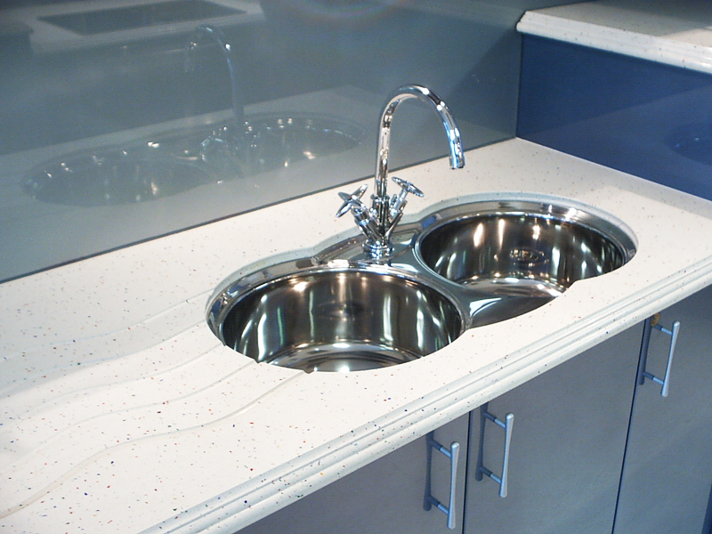 Undermount Sink Drainer Grooves Bench Top